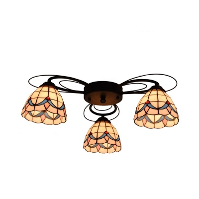 Yellow Dome Semi Flush Mount Fixture Tiffany 3/7/9 Heads Stained Glass Ceiling Lighting, HL580728