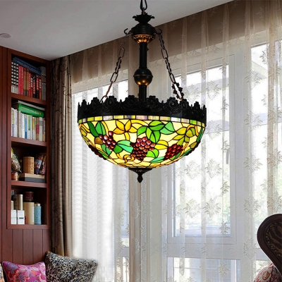 3 Lights Chandelier Tiffany Style Grape Stained Glass Ceiling Pendant Light in Green
