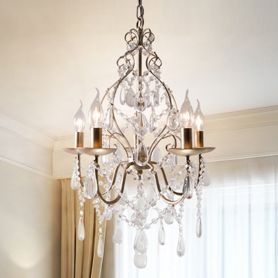 Antique Brass Teardrop Hanging Chandelier Tradition 5 Bulbs Crystal Ceiling Pendant Light, HL578360