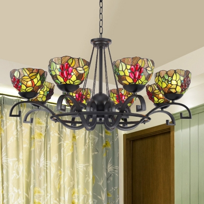 Black 3/6/8 Lights Chandelier Mediterranean Stained Glass Scrolling Arms Hanging Lamp Kit for Living Room