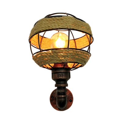 Cottage Globe Sconce Light Fixture 1 Light Metal Wall Lamp in Weathered Copper for Corridor