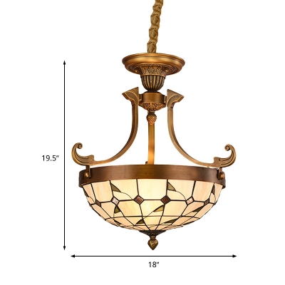 Cut Glass White Pendant Chandelier Bowl 3 Lights Tiffany Hanging Lamp for Hallway, 16