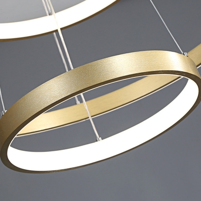 Gold Gyro Pendant Light Postmodern Metal LED Chandelier Light for Dining Room, 23.5