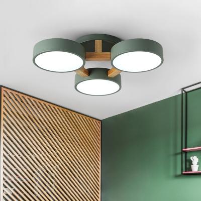 Metal Drum Semi Flush Mount Lamp Macaron Green/Gray LED ...