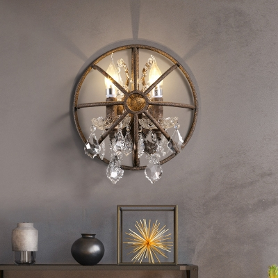 Metal Rust Wall Mount Lighting Candle 2 Bulbs Vintage LED Wall Sconce Light with Dangling Crystal