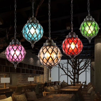 Moroccan Globe Hanging Ceiling Light 1 Light Red/Green/Purple Glass Pendant Lamp in Black for Dining Room with Cage