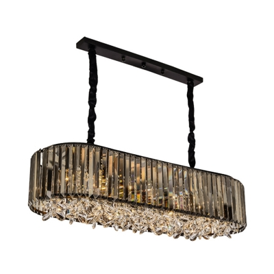 Oval Dining Room Suspension Lighting Modern Three Sided Crystal Rod 6 Heads Smoke Gray Island Light