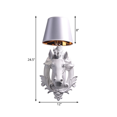 Resin Horse Design Wall Light Lodge Style 1 Light White Sconce Lamp with Conical Shade for Hallway, 9.5