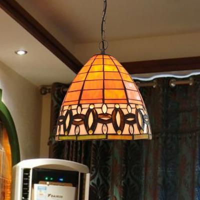 Tapered Hanging Lamp Kit Mediterranean Stained Art Glass 1 Light Orange Ceiling Pendant
