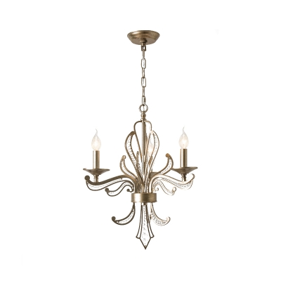 Traditionary Candle Chandelier Pendant Light Metal 3 Heads Antique Brass Hanging Light with Clear Crystal Bead