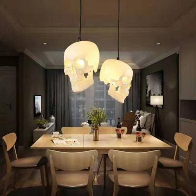 1 Light Skull Shaped Ceiling Pendant Vintage White Resin Hanging Lamp for Restaurant