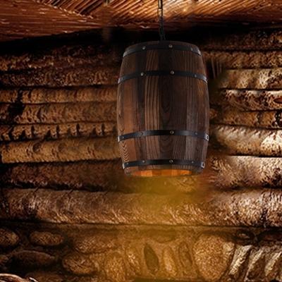 W 1 Light Hanging Lamp Vintage Barrel Wood Pendant Lighting in Brown for Indoor, HL575017
