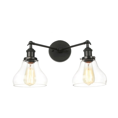 2 Lights Clear Glass Sconce Vintage Brass/Bronze/Chrome Pear Shaped Indoor Wall Mount Light, Black;bronze;brass;chrome;copper, HL575994