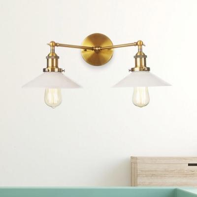 2 Lights Indoor Wall Lighting Farmhouse Black/Bronze/Brass Sconce Light with Cone Opal Glass Shade, Black;bronze;brass;chrome;copper, HL576001