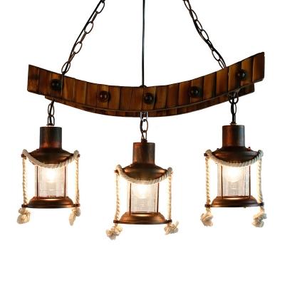 3 Lights Clear Glass Chandelier Light Industrial Style Dark Brown Kerosene Dining Room Pendant Lamp