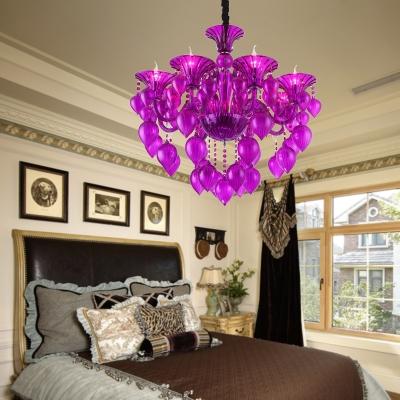 6 Heads Crystal Drop Hanging Light Kit Traditional Blue/Red/Purple Candelabra Living Room Chandelier Lamp
