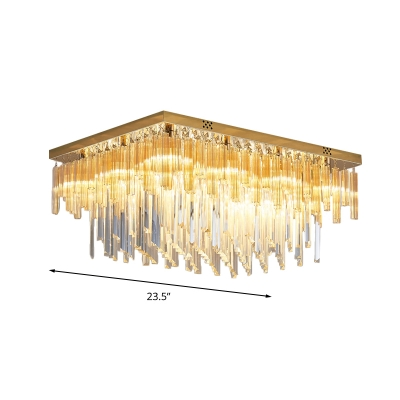 9 Heads Layered Flushmount Modernism Clear Crystal Ceiling Light Fixture with Rectangle Canopy