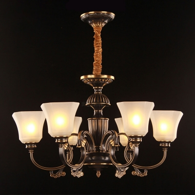 Bell Living Room Ceiling Chandelier Traditional Frosted White Glass 6 Heads Black and Gold Pendant Light Fixture