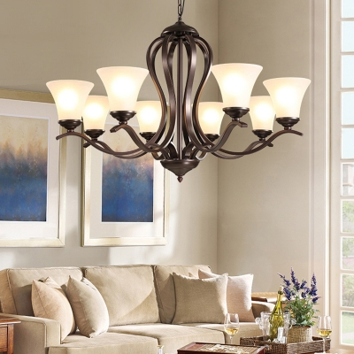 Bell Living Room Ceiling Chandelier Traditional Milk Glass 3/6/8 Heads Black Hanging Light Fixture
