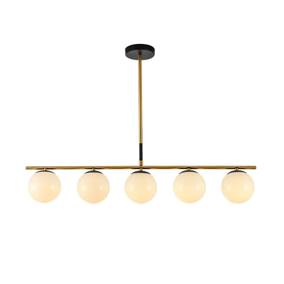 Brass Orb Over Island Lighting 4/5 Lights White/Clear/Amber Glass Chandelier Light Fixture for Dining Room