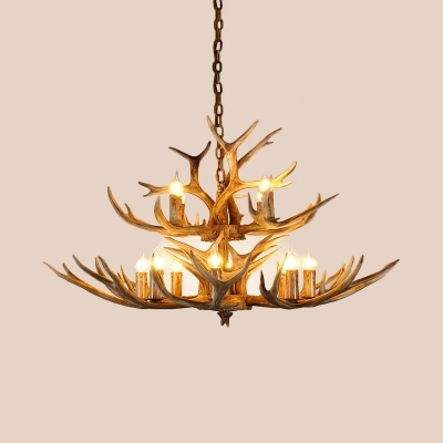 Brown Faux Antler Hanging Chandelier Farmhouse Resin 12 Bulbs Suspension Pendant Light