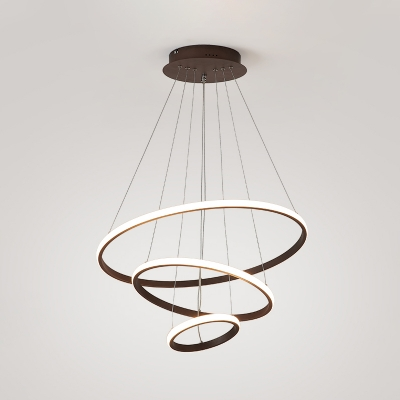 Coffee 3-Tier Ring Pendant Chandelier Contemporary Acrylic LED Hanging Ceiling Light Fixture in White/Warm Light, 8