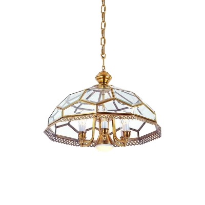 Colonial Dome Hanging Pendant 7 Heads Clear Glass Chandelier Lighting Fixture for Dining Room