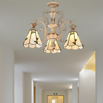 Cone Ceiling Chandelier Baroque Stained Glass 3/5 Lights White and Gold Suspension Pendant Light