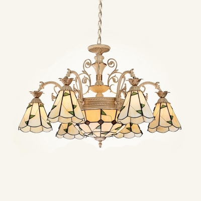 Cone Chandelier Lamp 9/11 Lights Stained Glass Baroque Style Pendant Lighting Fixture in White and Gold