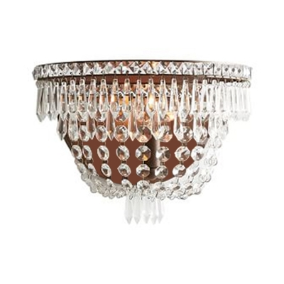 Crystal Brown Wall Mount Lighting Beaded 1 Light Traditional Sconce Light for Bedroom