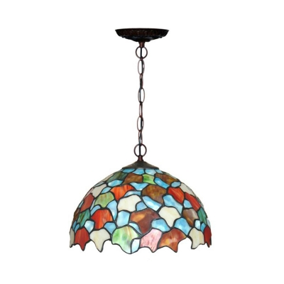 Cut Glass Domed Shade Ceiling Pendant Tiffany Style 1 Light Red/Green Pendulum Light for Kitchen
