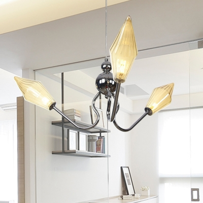 Diamond Ceiling Light Fixture Industrial Amber/Clear Glass 3 Bulbs Coffee Shop Adjustable Chandelier Lamp in Black/Chrome