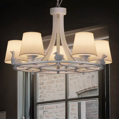 Fabric Cone Chandelier Lamp Rustic 5 Heads Living Room Pendant Light Fixture in White