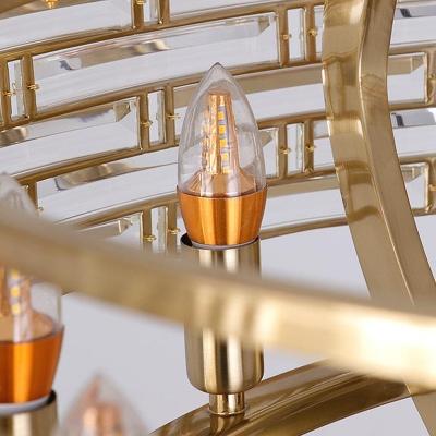 Gold Rectangle Island Light Modernist 8 Bulbs Crystal Suspended Lighting Fixture for Bedroom