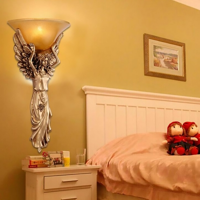Gold/White Angel Wall Mount Lighting Vintage Style Resin 1 Light Bedroom Sconce Light with Bowl Amber Glass Shade