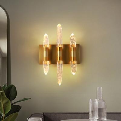 Linear Bedroom Wall Mount Light Modern Bubble Crystal 1/2/3 Heads Gold/Black Wall Lighting Fixture in Warm/White Light
