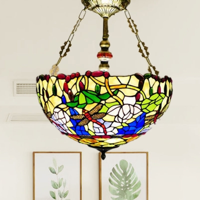 Mediterranean Dragonfly Semi Flush Mount 5 Lights Stained Glass Ceiling Light Fixture in Brass