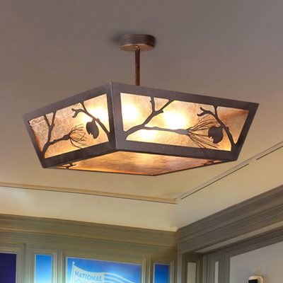 Metal Tapered Semi Flush Traditionary 4 Bulbs Close to Ceiling Lamp in Rust for Restaurant