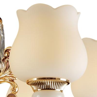 Modern Scalloped Crystal Chandelier Lighting Fixture 6 Lights Suspension Pendant Light in Bronze