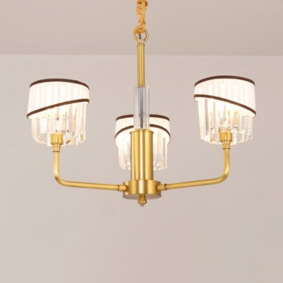 Modernism 3 Heads Chandelier Lighting Brass Cylinder Hanging Celing Light with Crystal Shade