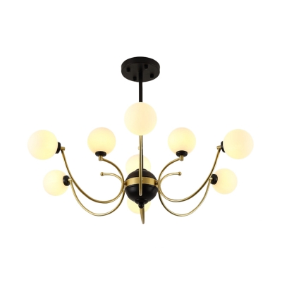 Modernism Bubble Hanging Chandelier Opal Frosted Glass 9 Bulbs Ceiling Suspension Lamp in Black-Gold