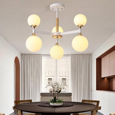 Modo Chandelier Lighting with Burst Design Multi Light Milky Glass Modern Pendant Light in Gold