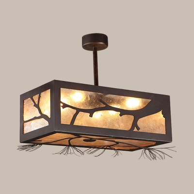Rust 6 Heads Semi Flush Mount Cottage Metal Rectangle Ceiling Light Fixture with Tree Pattern