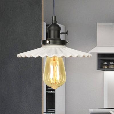 Scalloped Edge Pendant Light Industrial Stylish Ceramic 1 Light Coffee Shop Hanging Ceiling Light in Black/Bronze/Brass Finish, Black;bronze;rose gold;brass;chrome;copper, HL572421