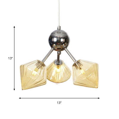 Sputnik Living Room Hanging Fixture Amber/Clear Glass 3/9/12 Lights Industrial Chandelier Lamp with Diamond Shade, 13