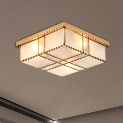 Square Living Room Flushmount Light Traditional Frosted Glass 2/4 Lights Brass Ceiling Lamp