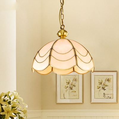 White Glass Scalloped Chandelier Light Fixture Colonialist 3 Lights Dining Room Ceiling Pendant