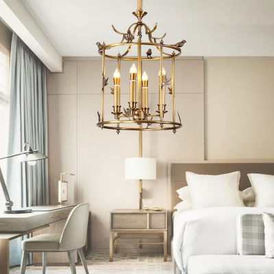 4 Bulbs Cylinder Ceiling Chandelier Traditional Metal Hanging Pendant Light in Brass with Bird