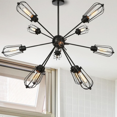 9/12/15 Heads Indoor Hanging Chandelier Lamp Industrial Style Black Finish Pendant Lighting with Bulb Cage Metal Shade