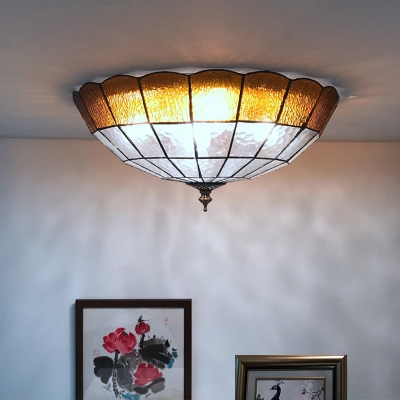 Amber Bowl Shade Flushmount Ceiling Light Tiffany 2/3/4 Lights Stained Glass Ceiling Fixture, 12